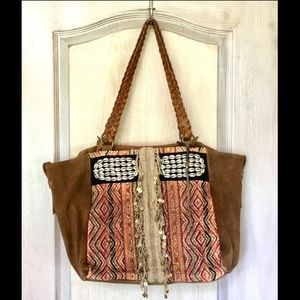 Free People Tote Suede Fringe Braid Leather Straps